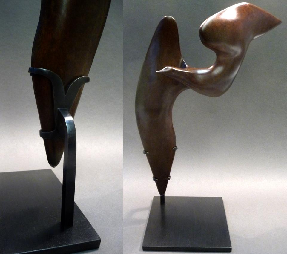 soclage laiton-acier sculpture oiseau