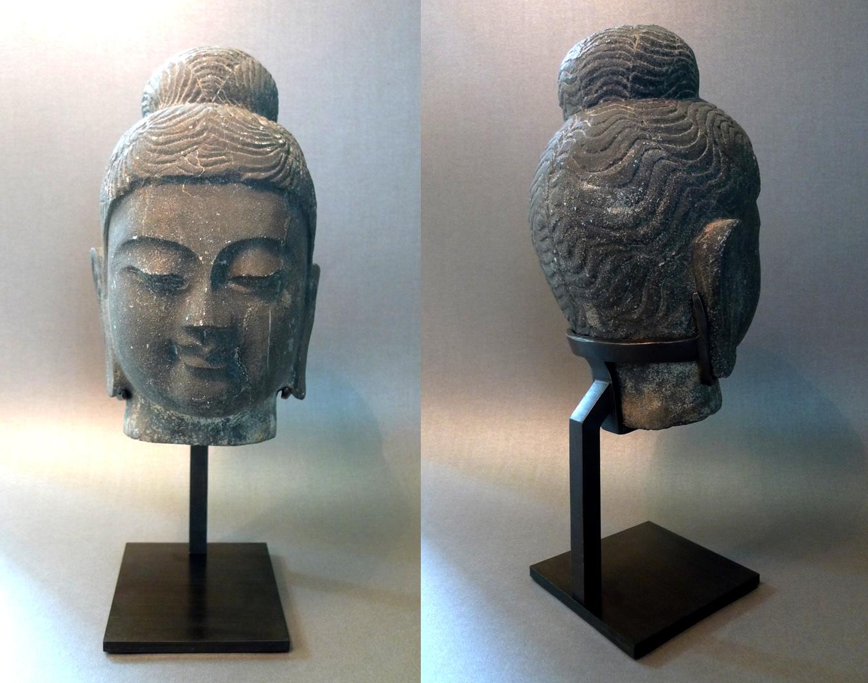 socle laiton acier bouddha pierre