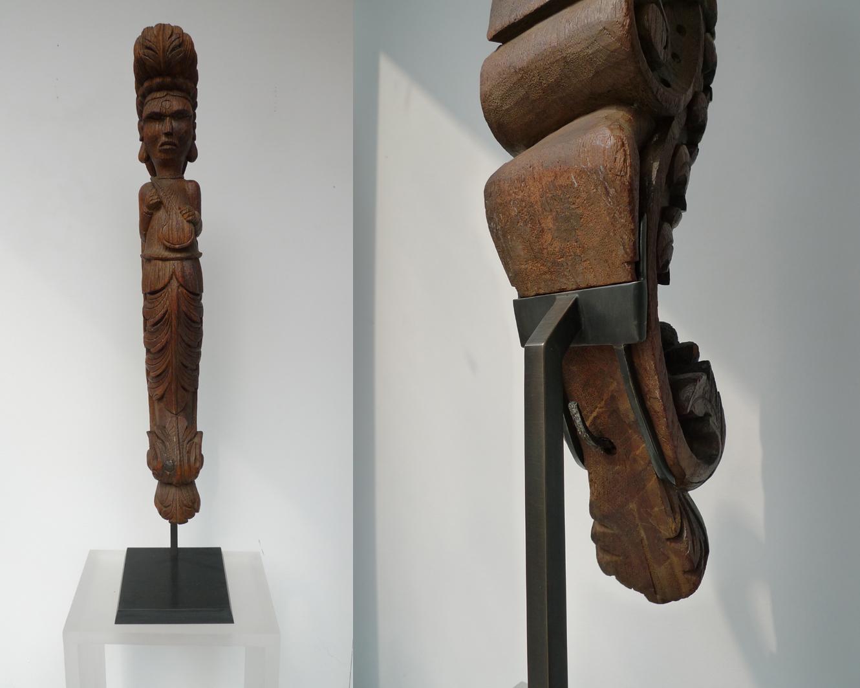 socle laiton sculpture bois