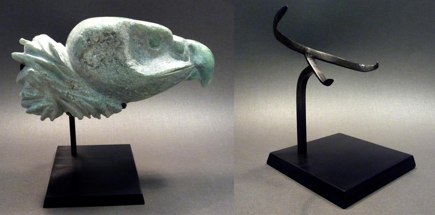 socle laiton vautour pierre